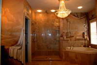 Master bathroom utilizing custom faux painting